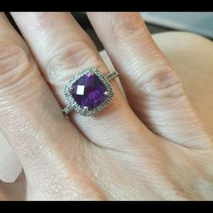 Cushion cut amethyst ring with diamonds, size 7